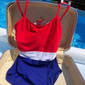 EUC Red, White & Blue One Piece swimsuit